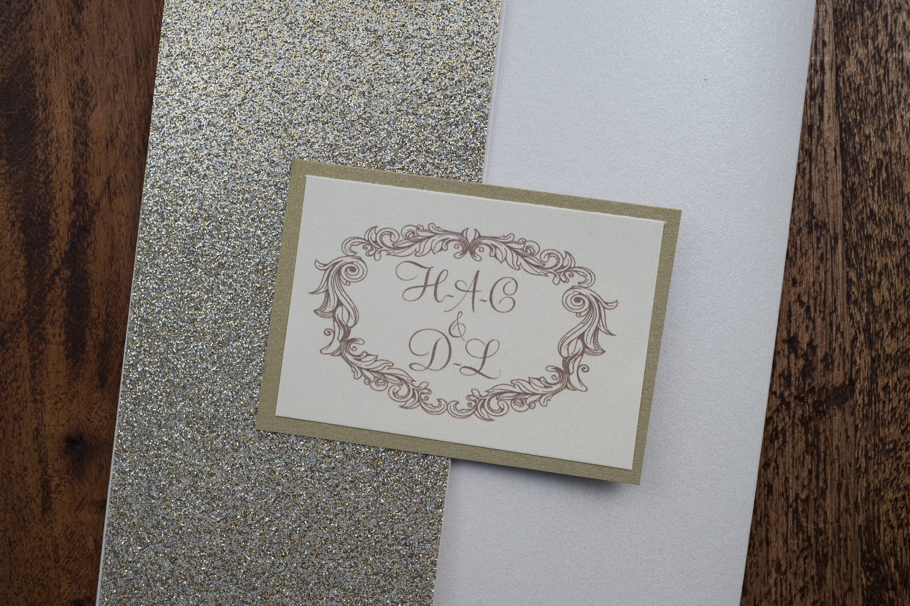 Personalized Gold Glitter Invitation Personalized Glitter