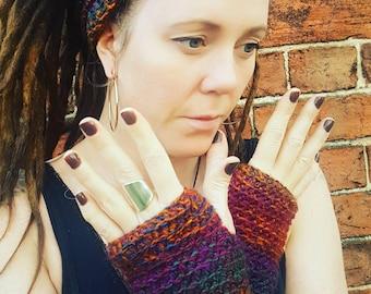 Crochet Dread Chunky Headband and Fingerless Gloves Wrist warmer set.