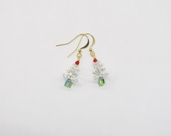 Very Merry Christmas Tree Earrings Crystal Edition made with Swarovski