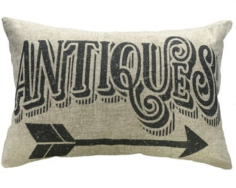 Antiques Throw Pillow, Linen Lumbar Pillow