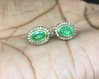 Natural Colombian Emerald 4x6 oval Stud Earring, Pave Diamond Stud Earring in 925 Sterling Silver, 14k gold vermiel