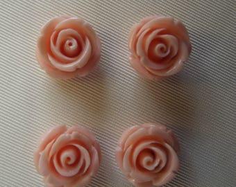 4 LARGE BEADS 17 MM PINK RESIN ROSE / BEIGE