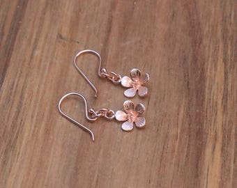 Rose Gold Vermeil Flower Earrings - Cute Earrings, Pink Earrings, Dangling Earrings, Kawaii