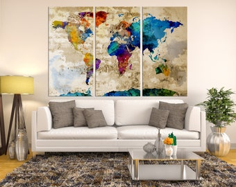 World Map Large Canvas Print, Wall Art, Large Wall Art Print, Navy Blue Wall Art, Watercolor Wall Art, World Map, World Map Canvas Print