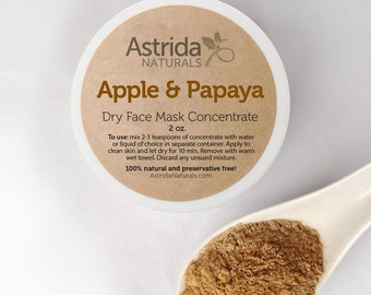 Clay Face Mask / Brightening Apple & Papaya Mask / Rhassoul Clay Mask / Moroccan Red Clay Mask / Kaolin Clay Mask