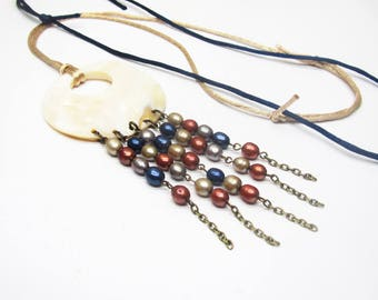 Mother of Pearl donuts, boho necklace ethnic pendant Pearl Necklace water fresh and silk cords, necklace, unique necklace, women gift