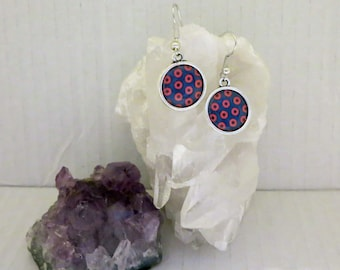 Phishman Earrings, Phish Donut Photo Blue and Red Jewelry, Photo Picture PhishFans Doughnut Style Fishman Rock Music for Hippie Festivals
