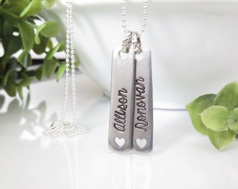 Mothers Day Gift for Mom - Name Tag Necklace for Mom - Silver Name Necklace Bar - Hand Stamped Name Necklace - Name Pendant - Free Ship