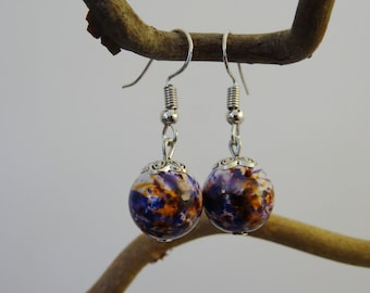 Pearl Earrings - orange - purple - glass - silver