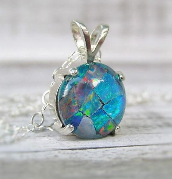 Opal pendant necklace australian opal necklace opal jewelry opal pendant necklace australian opal necklace opal jewelry mosaic opal gemstone necklace october birthstone aloadofball Image collections