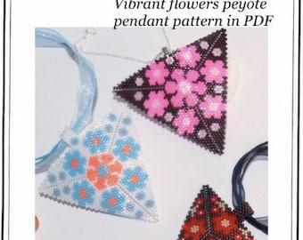 Pattern, peyote triangle - Flowery pendants - peyote pendant patterns in hot colours - pattern in PDF in 5 versions - instant download