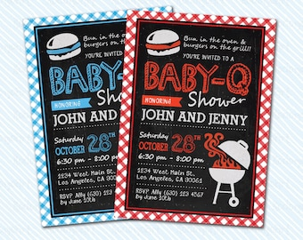 Digital Printable BBQ baby Shower Invitation. Chalkboard invitation. baby invitation