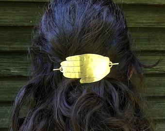 Solid Brass Hand Hair Slide