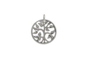 Sterling Silver Tree of life Charm Small 15x15mm with 5mm Soldered jump ring - 1pc 15% discounted (2846)/1