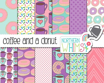 """Donut Digital Paper:  """"Coffee and a Donut"""" - hand drawn coffee and donut seamless patterns in pink, purple & aqua blue - commercial use OK"""