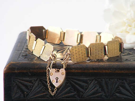 Art Deco Gold Bracelet | Heart Padlock Clasp | 9ct Gold Front & Back Bracelet, Art Deco Panel Bracelet - 7.5 Inch Antique Bracelet