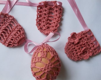 Crochet Easter Egg Cover, Set of 4 Hand Crocheted Easter Eggs Easter Decoration Pink / Coral