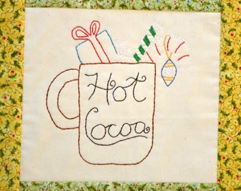 "PDF Embroidery Pattern ""Hot Cocoa"" Holiday Stitchery"