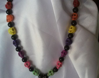 Colorful Scull Necklace with a Green Scull Pendant