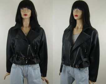 PVC biker jacket, women's vintage jacket, rocker style, 1990's, Made in Italy, size 44 IT, M/L , oversize leather jacket, vintage fit