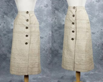 Linen like pencil skirt, button down, high waist below knee skirt, medium to large