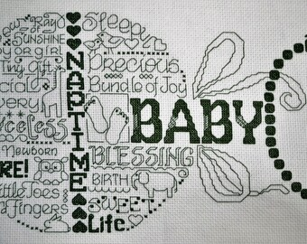 Let's Love Baby - Finished Counted Cross Stitch (Free Personalization)