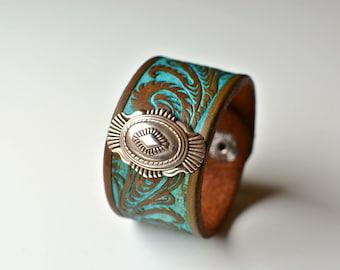 Western Tooled Leather Cuff Bracelet, Southwestern Bracelet, Cowgirl Bracelet, Southwestern Bracelet, Western Bracelet, Boho Bracelet, Cuff