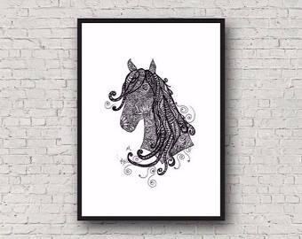 Zentangle Horse A4 Art Print