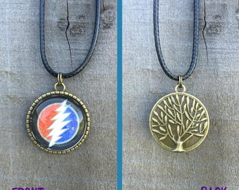 Dead and Company 13 Point Bolt Necklace with Tree of Life Back