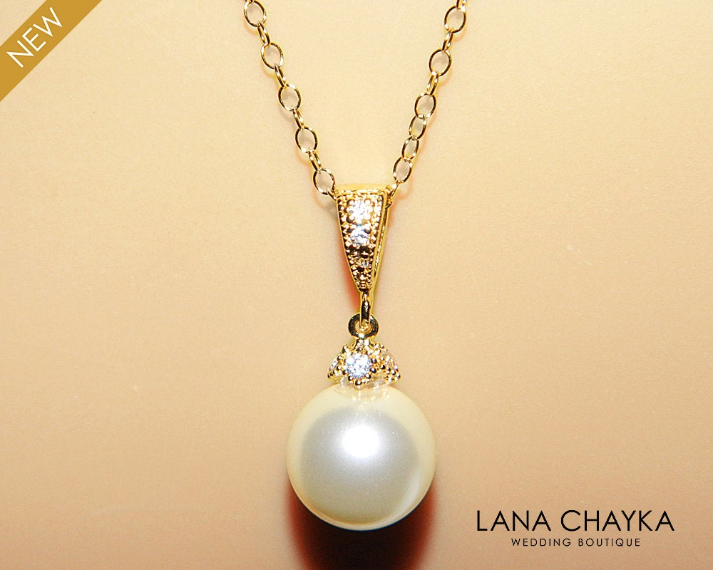 Pearl Drop Bridal Necklace Ivory Single Pearl Vermeil Gold