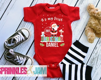 First Christmas Outfit, My First Christmas, My 1st Christmas Bodysuit, Christmas Baby Boy