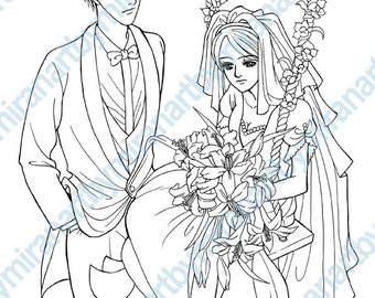 Wedding Digital Coloring page, Digital Stamp, Coloring book, Anime / Manga, instant download 8 x 10 inch
