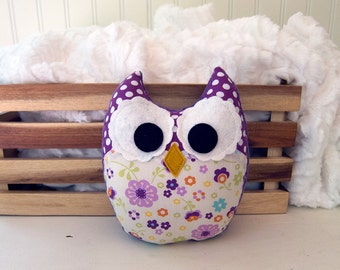 Plush Owl Mini Pillow Stuffed Owl Softie Purple Green Orange