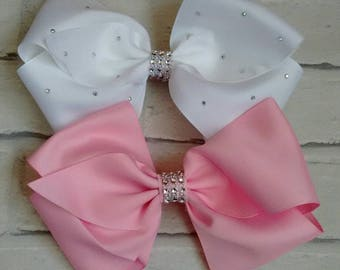 "Set of 2 Girls large 8"" Hair Bows Angel White & Baby Pink with Diamantés like JoJo Siwa Bows Signature Keeper Dance Moms School Party Gift"
