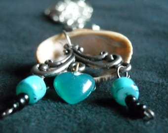 White Shell Chain Necklace with Turquoise Accents