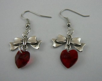 Red Swarovski hearts and Silver earrings