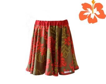 Red flowery skirt