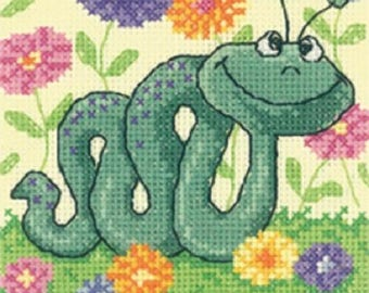 Snake Cross Stitch Kit from Heritage Crafts , Critters Counted Cross Stitch, Cross stitch kit,snake cross stitch , gift for children