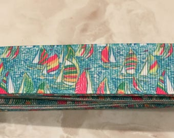 "Lilly inspired pastel sailboat print custom 1"" dog collar"