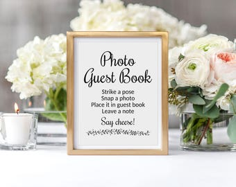 Instant Photo Guest Book Sign, Wedding Guest Book Photos, Guest Book Alternative, Printable Wedding Signage, Wedding Photo Sign, Rochester