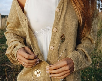 Vintage Gold Embroidered Cardigan