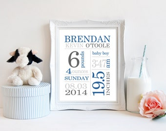 Personalized Birth Announcement, Newborn Baby Subway Print, Baby Stats Birth Details Sign, Baby Boy, Baby Girl