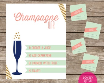 6 piece Champagne Bar Kit - Printable or Printed Options- You Choose Color - Lovely Little Party