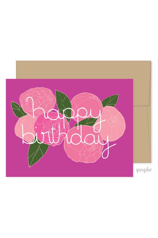Peonies birthday card flower celebrations peony flower card zoom izmirmasajfo Gallery