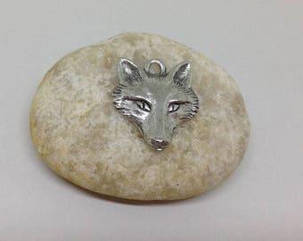 Fox Head charm, Fox Charm antique silver tone