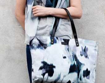 Blur Shopper Bag - Printed Cotton Bag with Leather