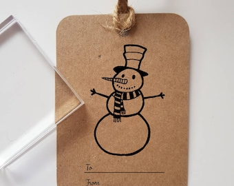 Snowman Christmas Gift Tag Rubber Stamp