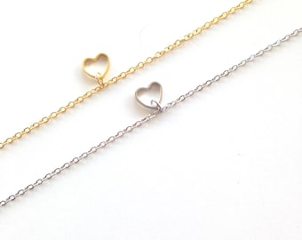 Tiny heart bracelet, cute dainty bracelet, everyday jewelry, gift for her under 15 usd