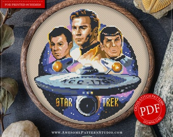 Modern Cross Stitch Pattern of Star Trek for Instant Download *P060 | Easy Cross Stitch| Counted Cross Stitch|Embroidery Design