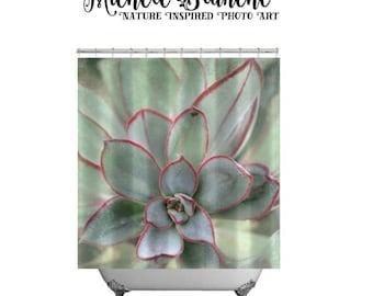 Sedum Photo Shower Curtain, Mint Green Nature Shower Curtain,  Green Plant Nature Bathroom Decor, Botanical Art Shower Curtain, Nature Lover